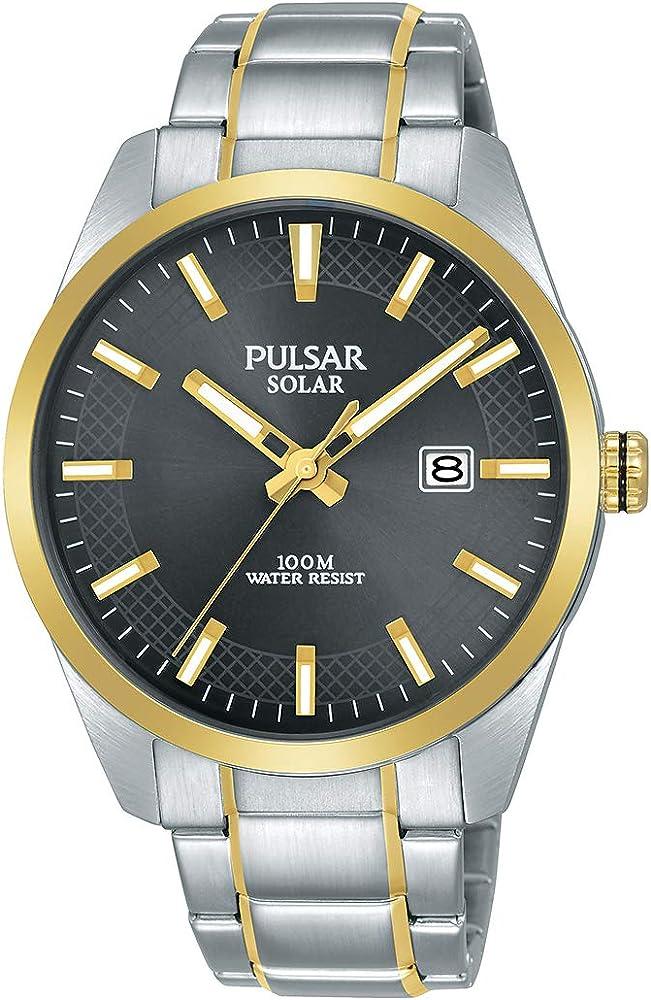 Seiko pulsar, orologio uomo ,con funzione di ricarica solare,in acciaio inossidabile PX3184X1