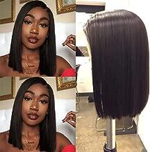 Human Hair Lace Front 13x4 Wigs Bob 150 Density Brazilian Virgin Human Hair Short Bob Wigs Straight Hair 12 Inch Natural Color