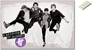 Bundle - 2 Items - 5Sos 5 Seconds Of Summer Jumping Poster - 91.5 x 61cms (36 x 24 Inches) and Small Block Of White Tack