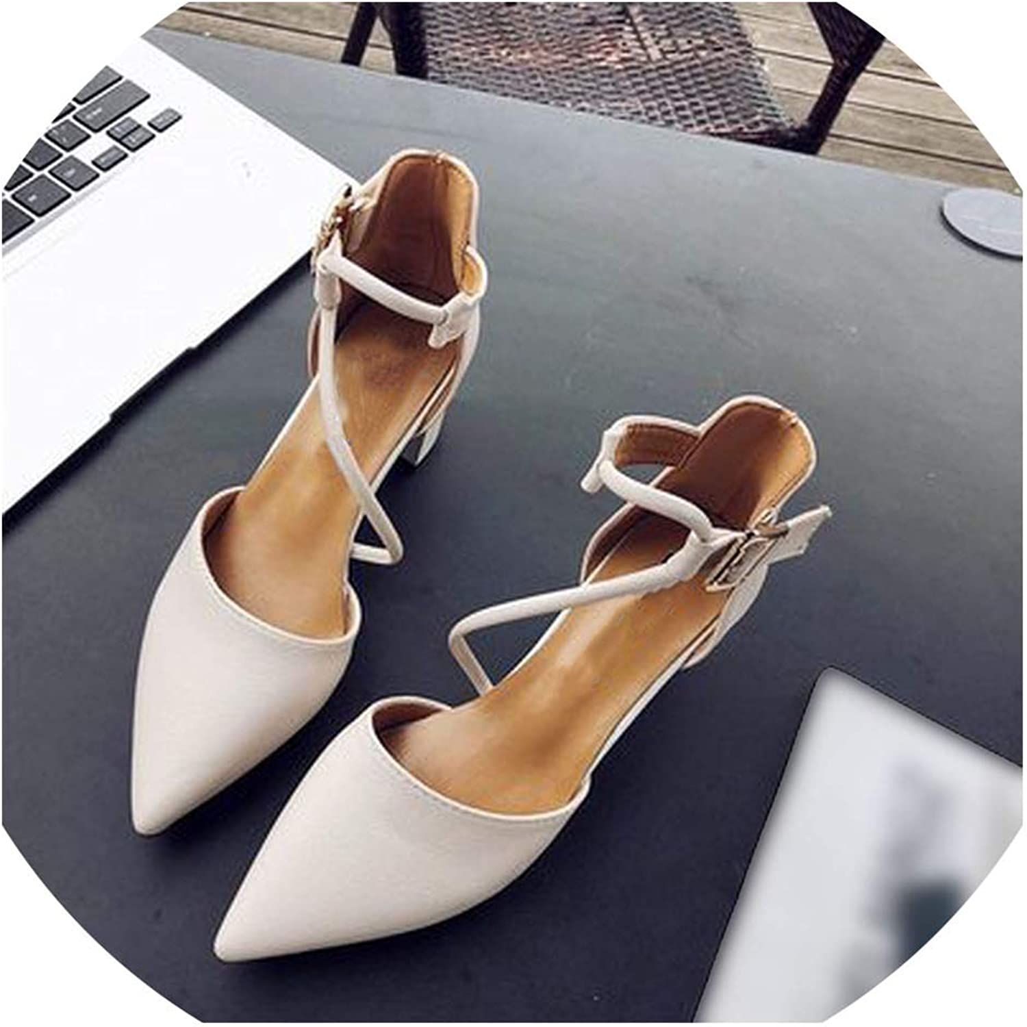 Axd-Home Comfortable Wild Thick with Single shoes Pointed Straps high Heels