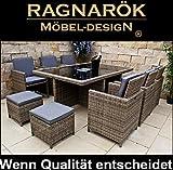 Ragnarök-Möbeldesign PolyRattan - DEUTSCHE Marke - EIGENE Produktion - 8 Jahre GARANTIE auf UV-Beständigkeit Gartenmöbel Essgruppe Tisch 6 Stuhl 4 Hocker 16 Polster Naturfarben Rostfrei Aluminium