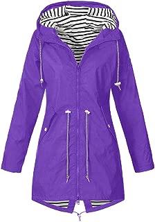 JESPER Women's Raincoats Windbreaker Rain Jacket Waterproof Lightweight Outdoor Drawstring Hooded Trench Coats Lace Up