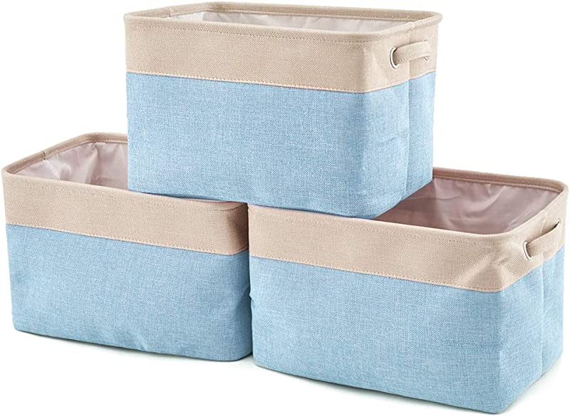 EZOWare Collapsible Large Storage Bins Basket 3 Pack Canvas Fabric Tweed Storage Organizer Cube Set W Handles For Nursery Kids Toddlers Home And Office Cream Blue 15 L X 10 5 W X 9 4 H
