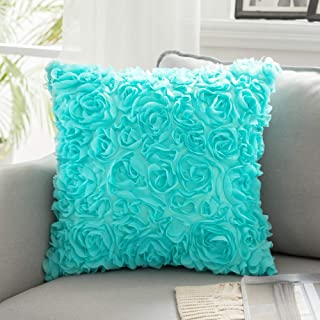 MIULEE 3D Decorative Romantic Stereo Chiffon Rose Flower Pillow Cover Solid Square Pillowcase for Sofa Bedroom Car, Chiffo...