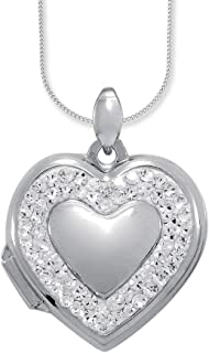 Bevilles Sterling Silver Crystal Heart Locket Necklace XX9203/XX1279 Curb