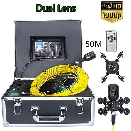 Rohr Inspektionskamera 1080p Hd Kamera Inspektion Dual Lens 7 Hd Lcd Monitor Industrie Endoskop Kanalinspektion Kamera Rohrkamera Schlangen Video Inspektions System Ip68 Wasserdichtes 50m Baumarkt