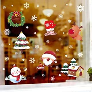 Hidreams 143 PCS Christmas Window Clings Snowflake Decorations, Xmas Window Stickers Decal 8 Sheets
