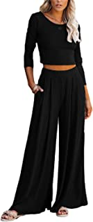 Lveberw Lounge Set Womens, Outfits Sets, Ribbed Crop Top Long Sleeve, Palazzo Pants - Loose Sweatsuit Knit,2 Piece Pajamas...