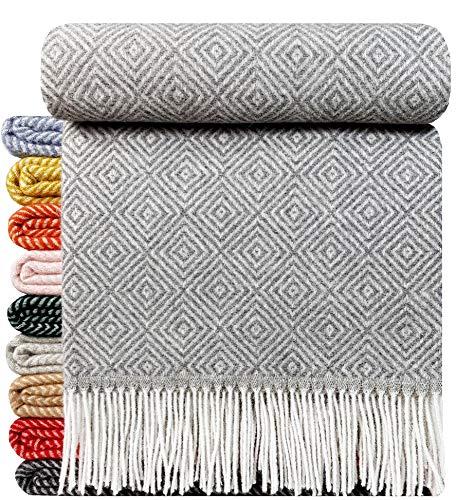 STTS International Wohndecke Wolldecke Decke sehr weiches Plaid Kuscheldecke 140 x 200 cm Wolle Milano/Verona Grau (V/V)