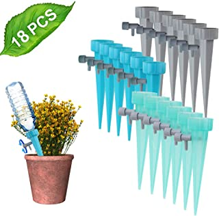 Anpro 18 Pcs Plant Waterer, Self Watering Spike Slow Release Vacation Plants Watering System, Automatic Watering Devices with Control Valve Switch for Outdoor Indoor Plants Tree