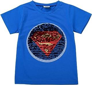 Boys Girls Flip Sequin T-Shirt Cotton Short Sleeve Tee Tops 2-8T