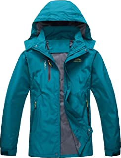 LASIUMIAT Men's Hooded Lightweight Outdoor Mountain Rain Jacket Windproof Insulated Coats Softshell Hiking Jacket