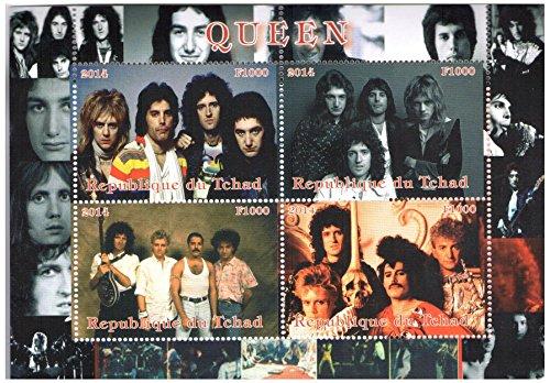 Musica rock Leggenda Regina Banda foglietto con 4 francobolli perforati / 2014 / Ciad/MNH