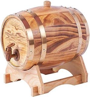 HWhome Baril en Bois Robinet Le Whisky Baril de chêne de 1,5 L, Baril de vieillissement en Baril de Whisky de chêne, Convi...