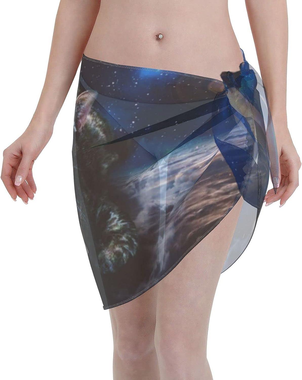 KGEJCSW Women Short Sarongs Beach Wrap Space Cat Sheer Bikini Wraps Chiffon Cover Ups for Swimwear Wrap Skirts Black