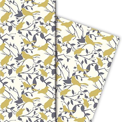 Kartenkaufrausch Edles Geschenkpapier Set 4 Bogen, Dekorpapier mit Vogel Silhouetten auch zur Hochzeit, beige, für schöne Geschenk Verpackung, Musterpapier zum basteln 32 x 48cm