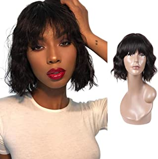 Body Wave Human Hair Wigs for Black Women, Ms Taj Short Wavy Natural Wave None Lace Front Wig with Bangs, 130% Density Human Hair Bob Wigs with Bang Natural Color 10inch