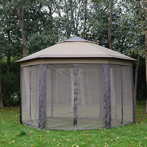 HUIJK Hexagon Patio Gazebo Garden Shelter Heavy-Duty Double Roof w/Mesh 13.3 x 13.3 ft