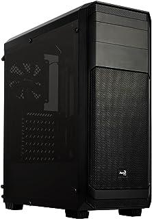 Aerocool AERO300FAW - Caja gaming para PC (semitorre, ATX, panel lateral ventana acrílica, 7 ranuras de expansión, incluye ventilador trasero 12cm, 2 x USB 2.0, 1 x USB 3.0, audio HD), color negro