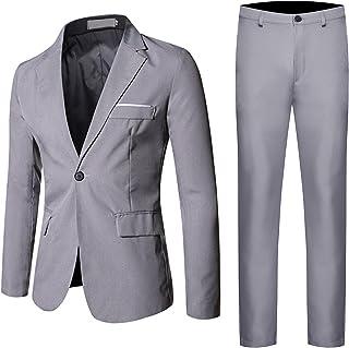 Men's Classic 3 Piece Slim Fit Formal Suit Solid Dress Business Wedding Party Blazer Casual One Button Tux Vest & Trousers