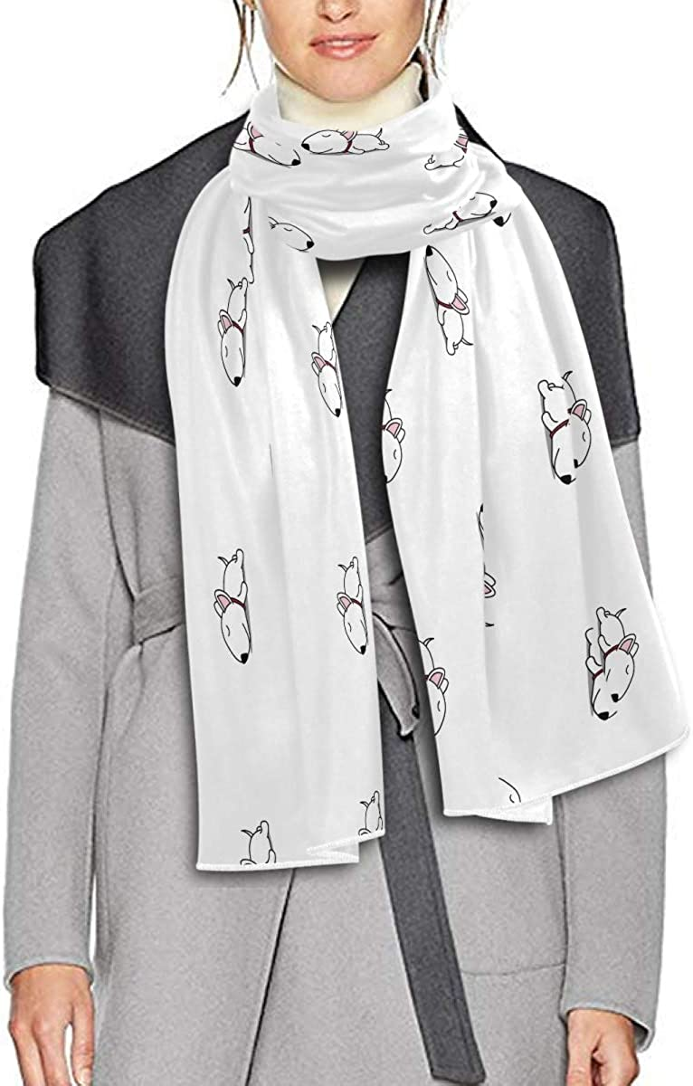 Scarf for Women and Men Cute Bull Terrier Puppy Shawl Wraps Blanket Scarf Thick Soft Winter Large Scarves Lightweight