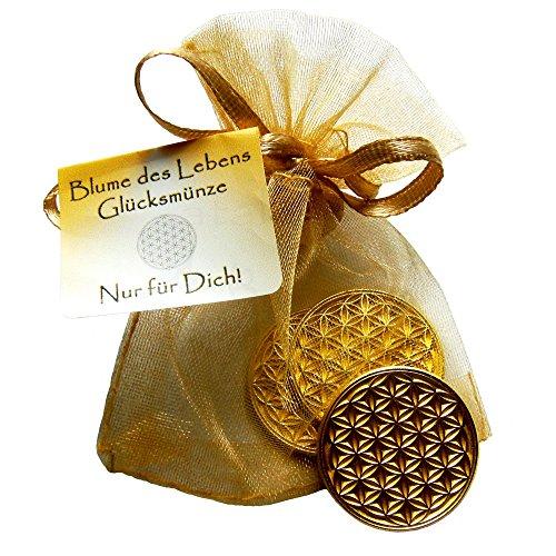 EnerChrom Blume des Lebens Glücksmünzen 3 Stück - Nur für Dich - Farbe Gold - 3er Geschenk Set Glücksbringer Lebensblume