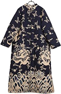 Yesno T300 Women Long Quilted Jackets Chinese Traditional Vintage Qipao 'Dragon Robe'