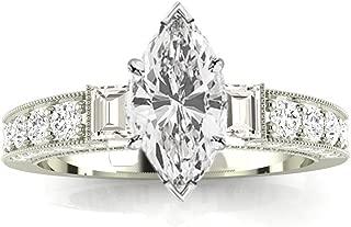 1.5 Ctw 14K White Gold Round Half Bezel Baguette Marquise Cut Diamond Engagement Ring (1 Ct E Color SI1 Clarity Center Stone)