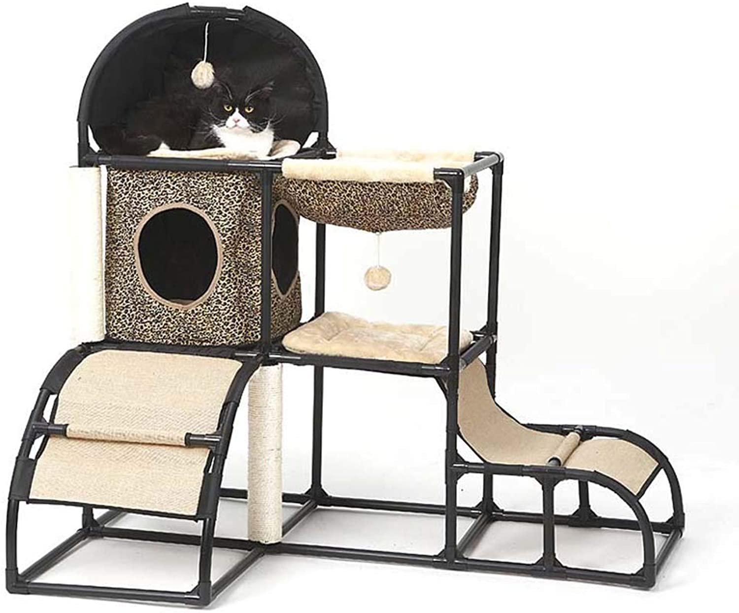 GLMAMK MultiPurpose Cat Climbing Frame, Detachable Combination Cat Kennels, Cat Toys With A Hammock,Brown