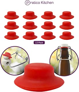 Premium Grolsch Style Silicone Rubber Gasket Seals - Extra Thick & High Pressure Full Replacement Washers for Flip Top, Swing Top & Similar EZ Cap Bottles - 12 Pack