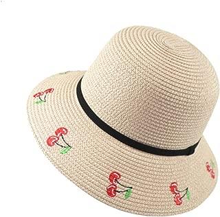 Chinese Wind Embroidery Cherry Dalat Beach Sun Hat Cap Sunscreen Travel Sunshade Hat (Color : Skin Powder, Size : M (56-58cm))
