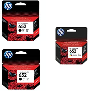 Hp F6v24ae 652 Black Ink Cartridges, 2 Pieces And Hp F6v25ae 652 Tri Color Ink Cartridge