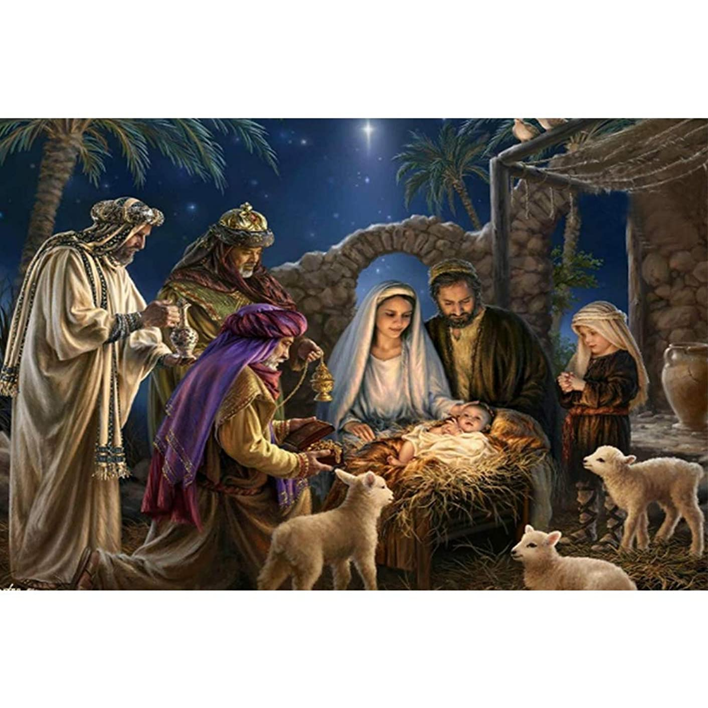 DIY 5D Diamond Painting Kit, Crystal Drill Religious Jesus Rhinestone Embroidery Cross Stitch Supply Arts Craft Canvas Wall Decor (39X29CM/15.4X11.4inch)