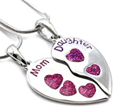 Soulbreezecollection Mom Daughter Heart Necklace Pendant Charm Engraved Mother's Day Jewelry Gift for Mom