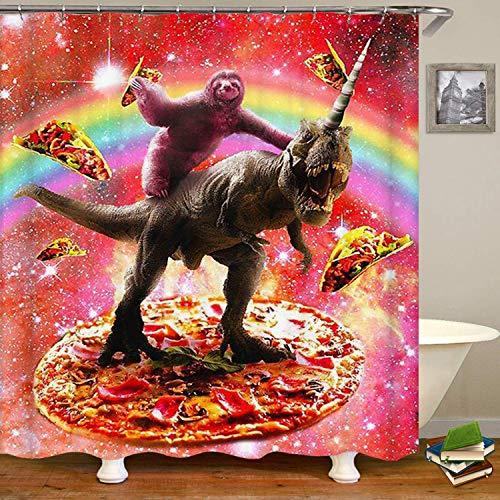 YEDL Lustige Faultierfahrt Dinosaurier Unucorn & Pizza Duschvorhang, wasserdichtes Polyestergewebe 180 × 180 cm