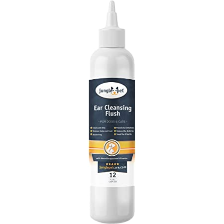 Jungle Pet Ear Cleansing & Drying Solution, Deep Cleansing Flush, Gentle for Routine Use - Removes Scales, Crust and Deodorizes - Sweet Pea & Vanilla Scent, 12 oz