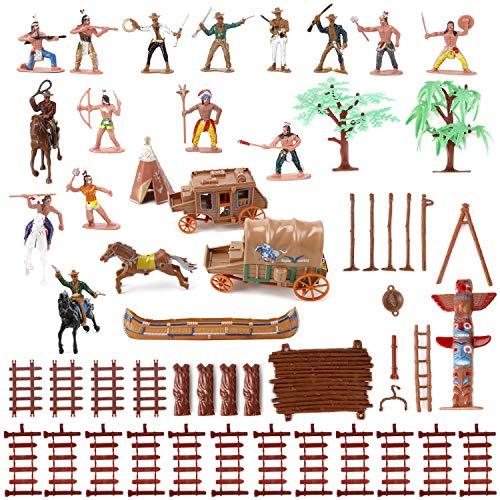 Liberty Imports Wild West Cowboys & Indians Plastic Figures Bucket Playset