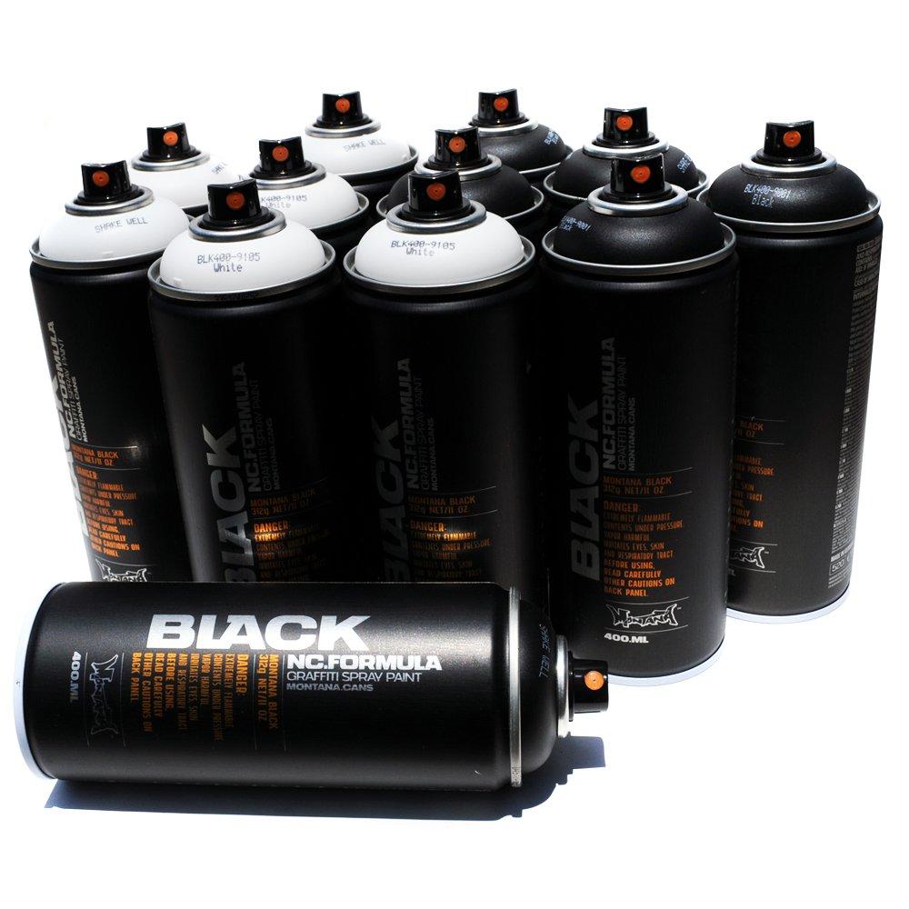 Montana BLACK 400ml Set of 12 Graffiti Street Art Mural Spray Paint (Black & White)
