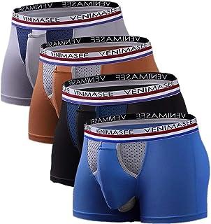 メンズ ボクサーパンツ 陰嚢分離型 前開き メッシュ 通気 蒸れない 網ポケット 付き 下着 4枚組