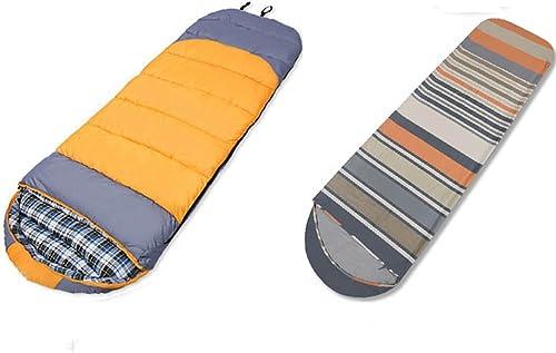 LJHA shuidai Enveloppe Sac de Couchage avec doubleures Adultes Camping en Plein air Randonnée Coton Sac de Couchage rectangulaire avec Sac de Compression (2 Couleurs Disponibles)