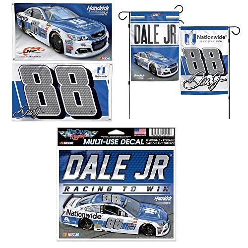 """Dale Earnhardt Jr NASCAR 3-Piece Fan Bundle (2017 Flags) – 3 Items: 2-Sided 3x5 Flag, 2-Sided 12"""" x 18"""" Garden Flag (Poles Not Included), and 5"""" x 6"""" Multi-Use Decal"""