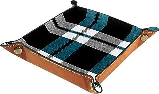 ATOMO Plateau de rangement en cuir gris, bleu, noir, pour ranger des clés, des pièces de monnaie, des articles divers, etc