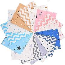 MSCFTFB 15 Pieces Twill Cotton Fabric Bundles Star Zig Zag Precut Fabric Squares Scraps for Patchwork Bedding Quilting Coa...