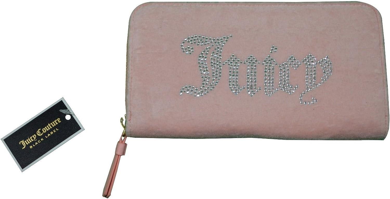 Juicy Couture Black Label Wallet Pink Velour Zip Around Clutch Women's