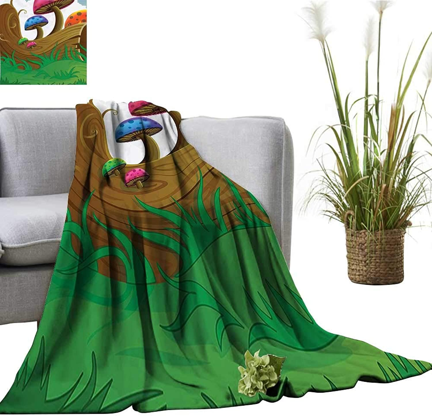 YOYI SingleSided blanketCountryside Sunny Playful Environment Foliage Rainbow Vibrant colors Spring Scene Kids Roo for Bed & Couch Sofa Easy Care 60 x70