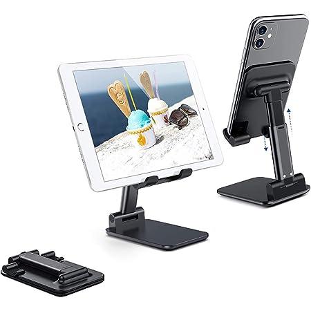Salandens Soporte ajustable para teléfono celular, soporte plegable para tableta Soporte para teléfono móvil para escritorio Compatible con Samsung Galaxy ipad Mini iPhone X Xr Xs max Todos los teléfonos inteligentes(Negro)