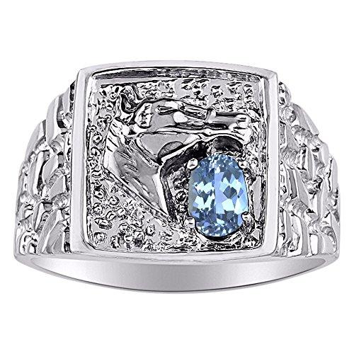 Diamante y Topacio Azul Anillo 14K Amarillo o 14K oro blanco pulsera de la cabeza de caballo