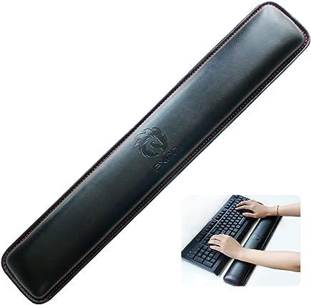 Almohadilla de descanso de muñeca con teclado de PU larga --- EXCO PU Bozales de teclado largos - Exco Muñeca reclinable, espuma de memoria antideslizante Palma negra PU de cuero Alfombrilla de ratón Alfombrilla
