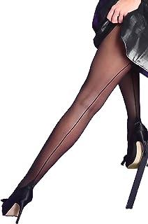 Yummy Bee - Collant Transparent Femme - Collants Silky avec Couture Arrière et Cubains Talon - Grande Taille 36-46