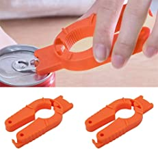 Senzeal 2pcs Multifunctional Bottle Opener for Weak Hands and Seniors with Arthritis - Bottle Squeeze Lids and Plastic Grip Orange